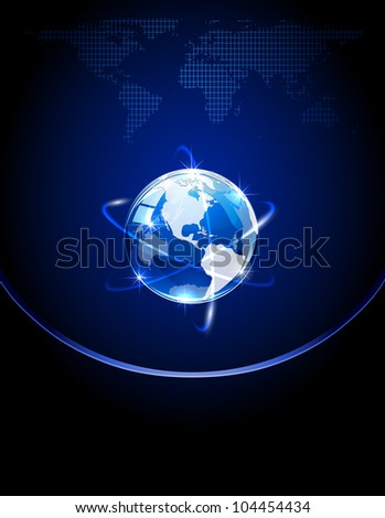 Blue shiny globe on dark background, illustration