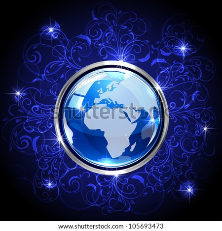 Blue shiny globe on dark background with floral elements, illustration
