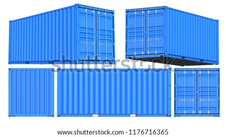 Blue Shipping Cargo Container Twenty feet. for Logistics and Transportation. Set of Front, back, side and perspective views. 3d Renderign Isolated on White Background