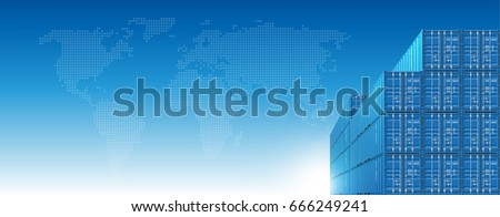 Blue Shipping Cargo Containers for Logistics and Transportation on Sky Background With World Map