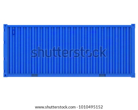 blue shipping container isolated point of view on a white background 3d rendering