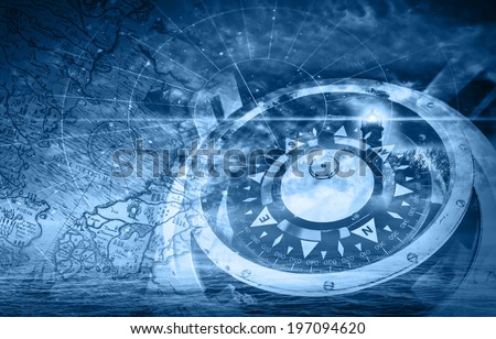 Blue ships navigation illustration with compass, lighthouse and ancient maps
