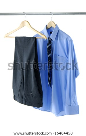 Blue shirt and pants on a hanger