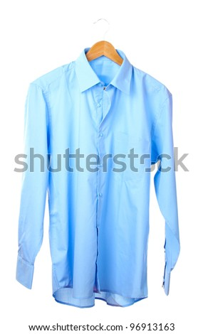 Blue shirt on wooden hanger isolated on white