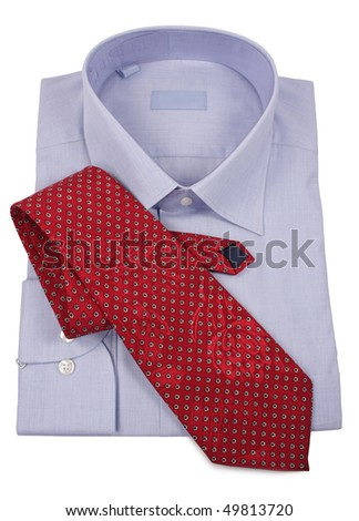 blue shirt with red tie  isolated on white-2