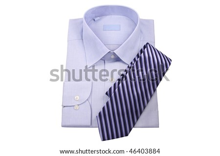 blue shirt with tie  isolated on white