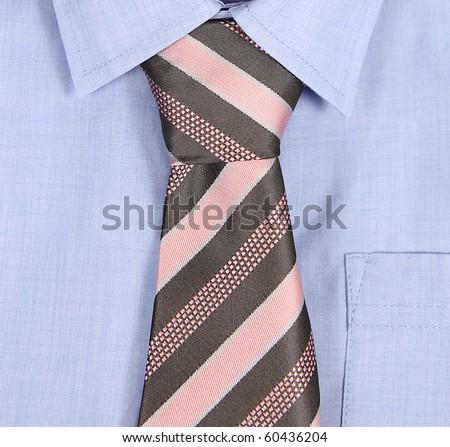 blue shirt with tie,macro