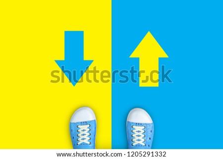 Blue shoes making desion. Minimal concept of forward or backward.