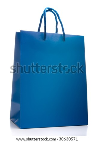 Blue shopping bag isolated on a white background