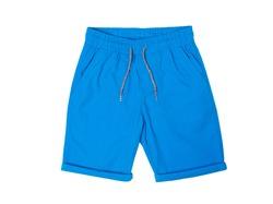 Blue shorts with elastic band isolated on white background