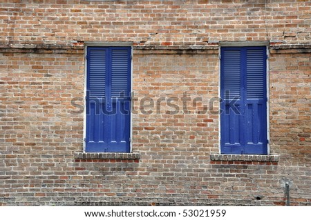Blue Shutters On Brick Building In New Orleans French Quarter Stock Photo 53021959 Shutterstock
