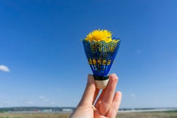 Blue shuttlecock from badminton with yellow dandelions inside in a female hand against the blue sky, abstract summer background with copy space, creative flower bouquet, outdoor activity, birdie