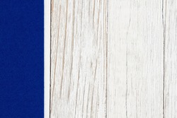 Blue sidebar on weathered wood background with copy space for your message