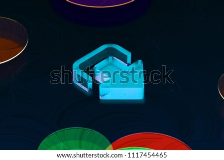 Stock Photo Blue Sign Out Icon on the Dark Black Background. 3D Illustration of Neon Blue Door, Escape, Exit, Log Out, Outside, Icon Set on the Black Oil Background.