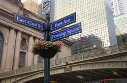 Blue sign traffic intersection famous park ave new york city pershing square old and modern building urban street nyc landmark destination tourism downtown sign