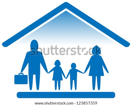blue sign with large family silhouette