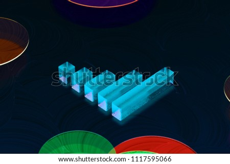 Blue Signal of Music Icon on the Dark Black Background. 3D Illustration of Neon Blue Audio, Impulse, Music, Signal, Sound Icon Set on the Black Oil Background.