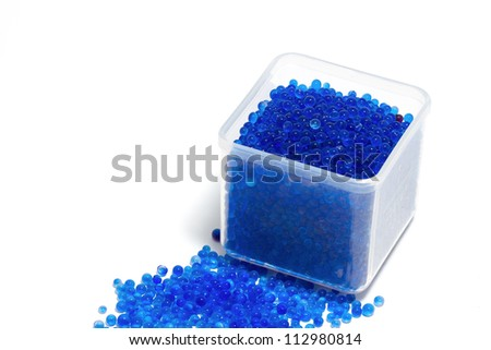 blue silica gel ,moisture adsorbing on white background