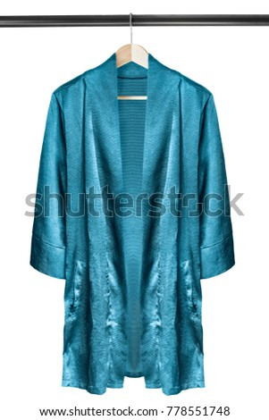 Blue silk kimono on wooden clothes rack isolated over white #778551748