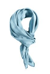 Blue silk tied neckerchief on white background