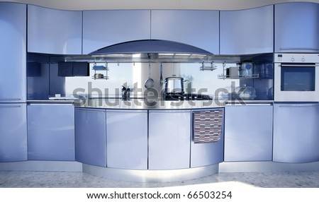 Blue silver kitchen modern architecture decoration interior design