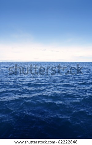 Blue simple clean seascape sea view in vertical