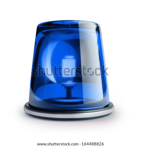 Blue siren isolated on white background High resolution 3d