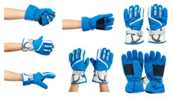 Blue ski gloves, kids hand protection, set and collection. Isolated on white background