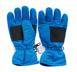 Blue ski gloves, kids protection for hands. Isolated on white background.