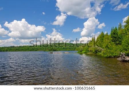Blue skies on Cherokee Lake in The Boundary Waters