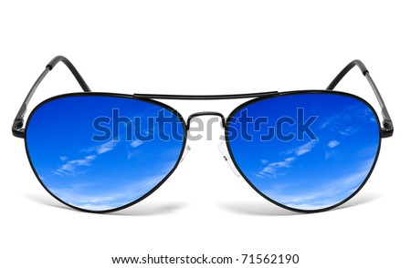 Blue skies reflecting in sunglasses isolated on white