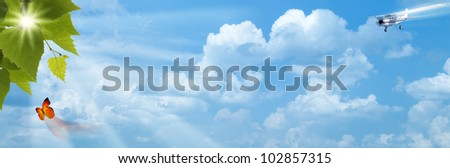 Blue skies with bright sun as backgrounds