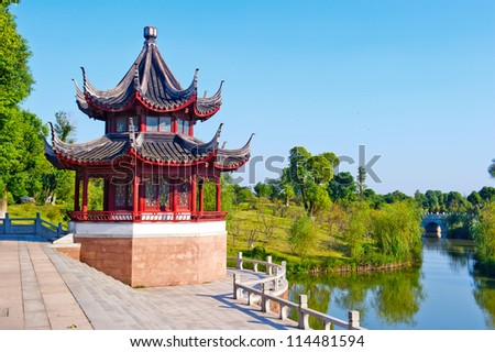 Blue sky , ancient Chinese architecture: garden.