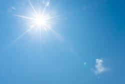 Blue sky and bright sun