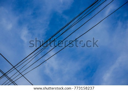 Blue sky and cloud with electric wire #773158237