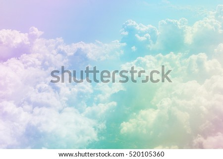blue sky and clouds from the airplane with a pastel colored   - Shutterstock ID 520105360