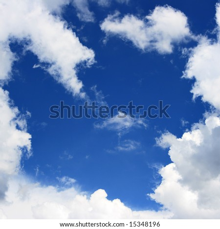 Blue sky and frame from clouds, may be used as background