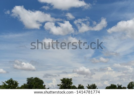 Blue sky and green forest. #1414781774