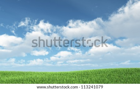 Blue sky and green hill - nature background