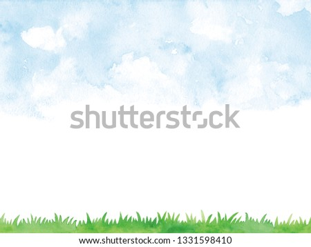 blue sky and Lawn watercolor background