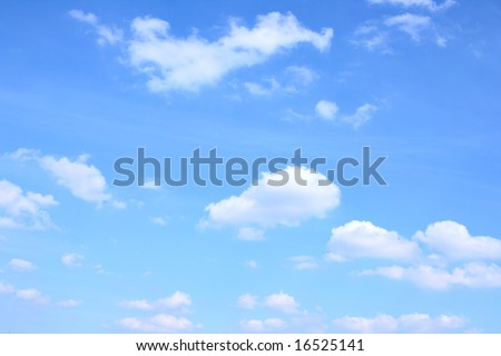 Blue sky and lots small clouds, may be used as background