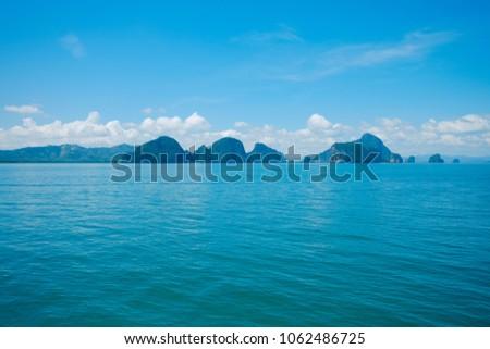 Blue sky and sea scape. #1062486725