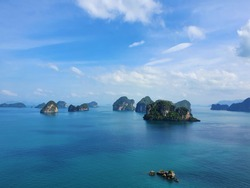 Blue sky and sea scape. Travel vacation background. Krabi, Thailand. beautiful sea. Hong Island View Point, Than Bok Khorani National Park. The Sea In High angle view. andaman sea.