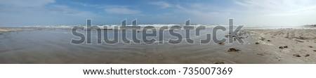 Blue Sky and sea with beach sand panorama