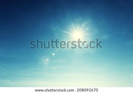 blue sky and sun - Shutterstock ID 208092670