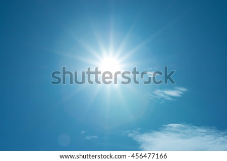 blue sky and sun - Shutterstock ID 456477166