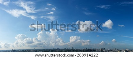 Blue sky and white cloud over the cityscape, cloudy sky Panorama