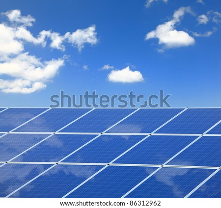 blue sky and white cloud  reflection on Solar Panel