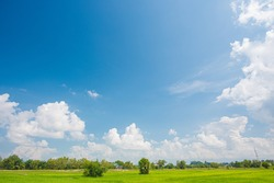 blue sky and white clouds. Freshness of the new day. Bright blue background. Relaxing feeling like being in the sky.Landscape image of blue sky and thin clouds.