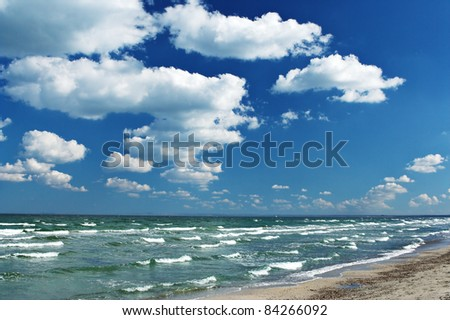 Blue sky and white clouds over the wavy sea.